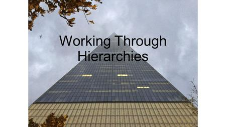 Working Through Hierarchies. What exactly is a hierarchy? A system or organization in which people or groups are ranked one above the other according.