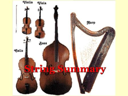 String Summary. Violin  m/watch?v=0OwzDLP 009Yhttp://www.youtube.co m/watch?v=0OwzDLP 009Y This is the smallest instrument in the.