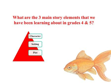 What are the 3 main story elements that we have been learning about in grades 4 & 5? Character Setting Plot.