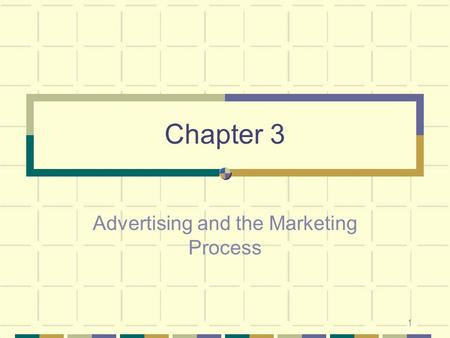 1 Chapter 3 Advertising and the Marketing Process.