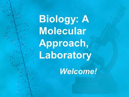 Biology: A Molecular Approach, Laboratory Welcome!