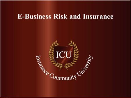 . www.InsuranceCommunityUniversity.com E-Business Risk and Insurance.