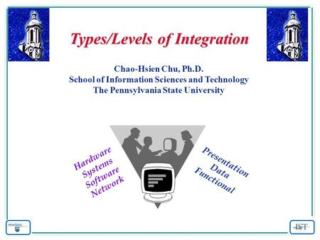 Types/Levels of Integration Chao-Hsien Chu, Ph.D. School of Information Sciences and Technology The Pennsylvania State University Presentation Data Functional.