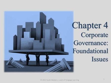 Chapter 4 Corporate Governance: Foundational Issues © 2012 South-Western, a part of Cengage Learning 1.