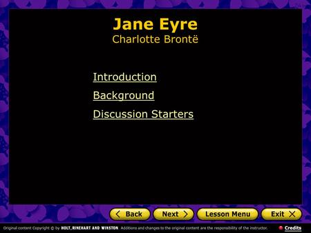 Jane Eyre Charlotte Brontë Introduction Background Discussion Starters.