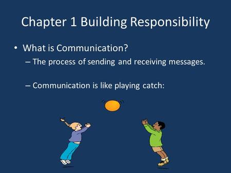 Chapter 1 Building Responsibility What is Communication? – The process of sending and receiving messages. – Communication is like playing catch:
