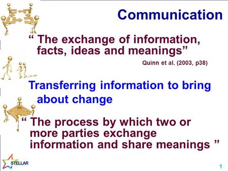 "Communication "" The exchange of information, facts, ideas and meanings"" Quinn et al. (2003, p38) Transferring information to bring about change "" The process."