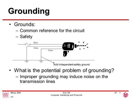 07 - Winter 2005 ECE ECE 766 Computer Interfacing and Protocols 1 Grounding Grounds: –Common reference for the circuit –Safety What is the potential problem.