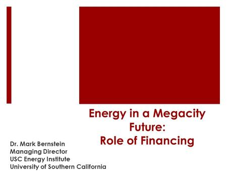 Energy in a Megacity Future: Role of Financing Dr. Mark Bernstein Managing Director USC Energy Institute University of Southern California.