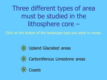Three different types of area must be studied in the lithosphere core – Click on the button of the landscape type you want to revise. Upland Glaciated.