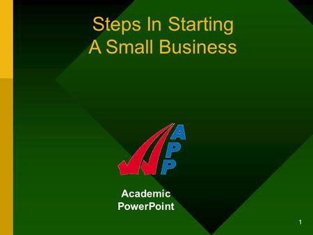 1 Academic PowerPoint Steps In Starting A Small Business.