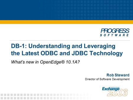 DB-1: Understanding and Leveraging the Latest ODBC and JDBC Technology What's new in OpenEdge® 10.1A? Rob Steward Director of Software Development.