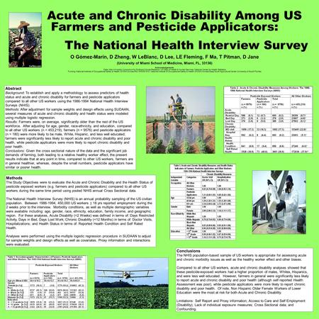 Acute and Chronic Disability Among US Farmers and Pesticide Applicators: The National Health Interview Survey O Gómez-Marín, D Zheng, W LeBlanc, D Lee,