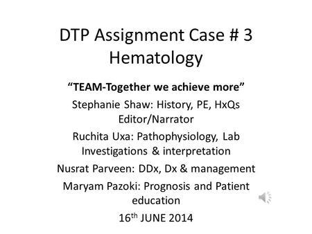 hematology case studies anemia