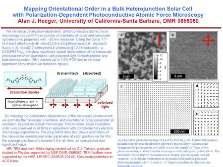 Mapping Orientational Order in a Bulk Heterojunction Solar Cell with Polarization-Dependent Photoconductive Atomic Force Microscopy Alan J. Heeger, University.