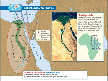 The Nile River- the world's longest river over 4,000 miles long.