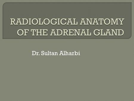 Dr. Sultan Alharbi.  The adrenals are two small, yellowish bodies located in the perirenal space, immediately anterosuperior to the upper pole of the.