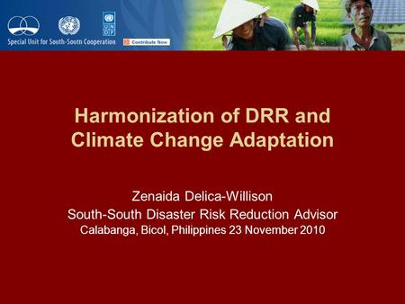 Harmonization of DRR and Climate Change Adaptation Zenaida Delica-Willison South-South Disaster Risk Reduction Advisor Calabanga, Bicol, Philippines 23.