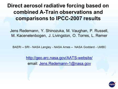 Direct aerosol radiative forcing based on combined A-Train observations and comparisons to IPCC-2007 results Jens Redemann, Y. Shinozuka, M. Vaughan, P.