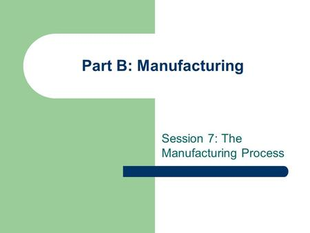 Part B: Manufacturing Session 7: The Manufacturing Process.