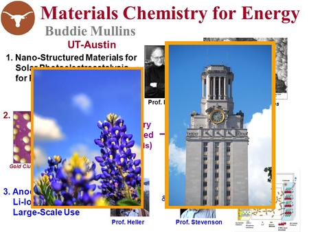 Materials Chemistry for Energy Buddie Mullins 3. Anode Materials for Li-Ion Batteries for Large-Scale Use 1. Nano-Structured Materials for Solar Photoelectrocatalysis.