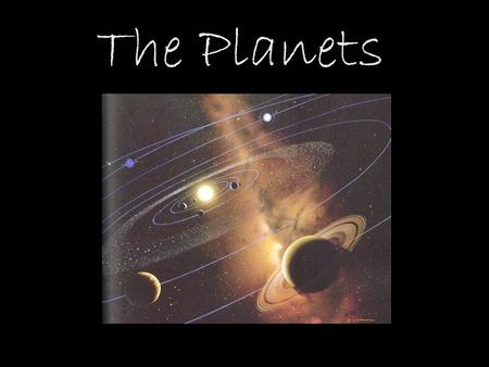 The Planets. Relative Sizes of Planets to Earth Body Diameter (Earth = 1) Sun109 Mercury0.38 Venus0.95 Earth1 Mars0.53 Jupiter11.13 Saturn9.40 Uranus4.04.