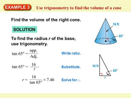 Use trigonometry to find the volume of a cone