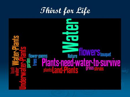 Thirst for Life. Guess: Why Are We Here?   We will help you understand how plants depend on water.