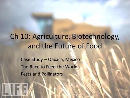 Ch 10: Agriculture, Biotechnology, and the Future of Food Case Study – Oaxaca, Mexico The Race to Feed the World Pests and Pollinators.