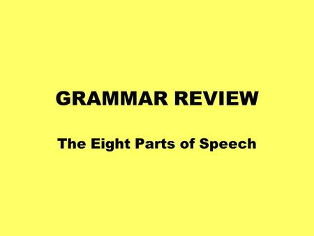 GRAMMAR REVIEW The Eight Parts of Speech. Nouns A word that names a person, place, thing, or idea thing, or idea place person thing idea.