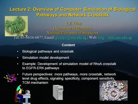 Lecture 2: Overview of Computer Simulation of Biological Pathways and Network Crosstalk Y.Z. Chen Department of Pharmacy National University of Singapore.