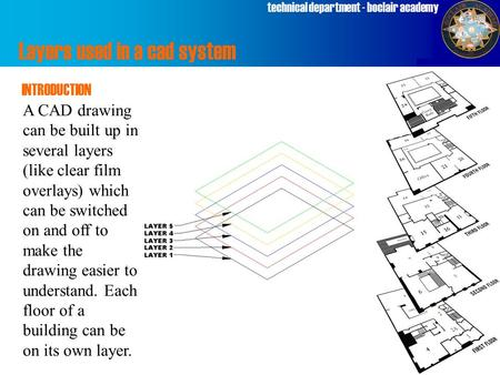 Technical department - boclair academy Layers used in a cad system INTRODUCTION A CAD drawing can be built up in several layers (like clear film overlays)