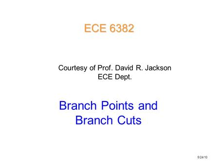 Branch Points and Branch Cuts