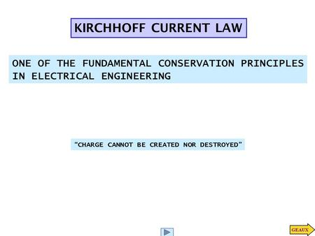 "KIRCHHOFF CURRENT LAW ONE OF THE FUNDAMENTAL CONSERVATION PRINCIPLES IN ELECTRICAL ENGINEERING "" CHARGE CANNOT BE CREATED NOR DESTROYED """