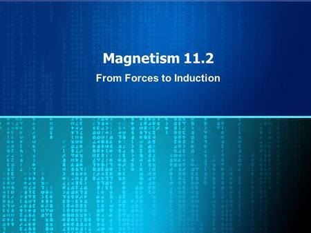 Magnetism 11.2 From Forces to Induction. Occurrences Today – A Military Application of Magnetism – Introduction to Inductors – Begin next unit Friday.