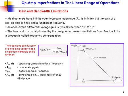 1 Op-Amp Imperfections in The Linear Range of Operations Gain and Bandwidth Limitations  Ideal op amps have infinite open-loop gain magnitude (A oL is.