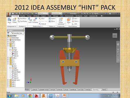 "2012 IDEA ASSEMBLY ""HINT"" PACK. ARM: draw in 2D Copy / paste this view into Inventor."