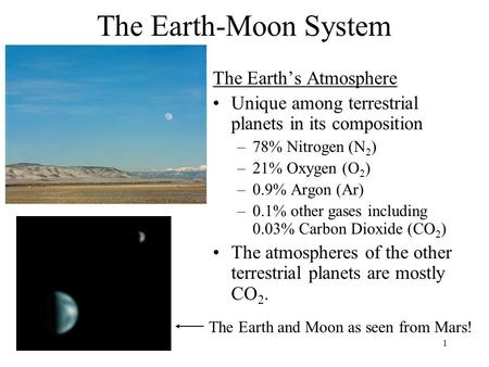 1 The Earth-Moon System The Earth's Atmosphere Unique among terrestrial planets in its composition –78% Nitrogen (N 2 ) –21% Oxygen (O 2 ) –0.9% Argon.
