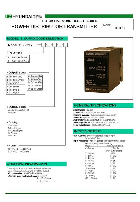 1 HD SIGNAL CONDITIONER SERIES POWER DISTRIBUTOR TRANSMITTER MODEL HD-IPC MODEL & SUFFIX CODE SELECTION HD-IPC MODEL ■ Input signal ■ Output1 signal ■