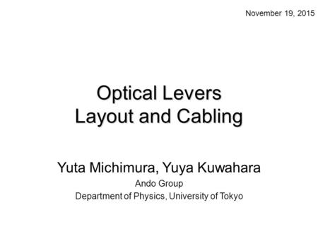 Optical Levers Layout and Cabling Yuta Michimura, Yuya Kuwahara Ando Group Department of Physics, University of Tokyo November 19, 2015.