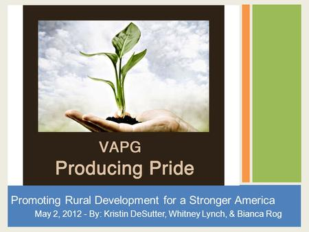 Promoting Rural Development for a Stronger America May 2, 2012 - By: Kristin DeSutter, Whitney Lynch, & Bianca Rog.
