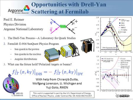 Opportunities with Drell-Yan Scattering at Fermilab Paul E. Reimer Physics Division Argonne National Laboratory 1.The Drell-Yan Process—A Laboratory for.