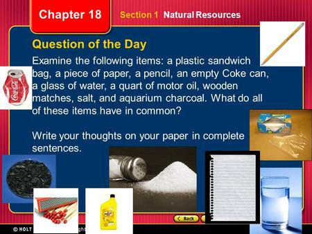 Question of the Day Examine the following items: a plastic sandwich