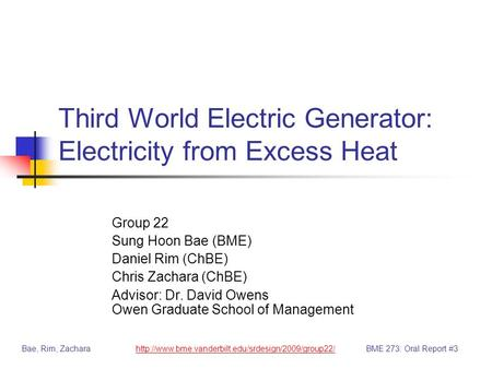 Third World Electric Generator: Electricity from Excess Heat