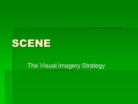 SCENE The Visual Imagery Strategy. Pre-Test  Today- Part 1: Our Purpose: How well you understand the information.  Tomorrow- Part 2: Our Purpose: How.