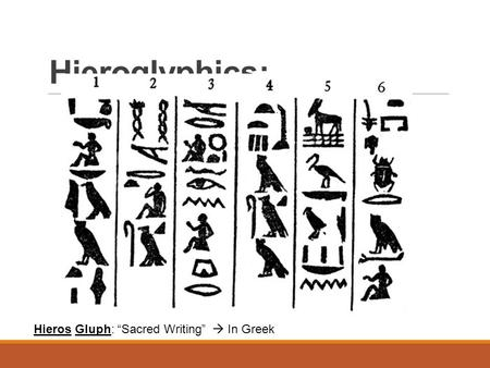 "Hieroglyphics: Hieros Gluph: ""Sacred Writing""  In Greek."