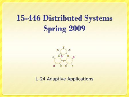L-24 Adaptive Applications 1. State of the Art – Manual Adaptation Objective: automating adaptation ? CaliforniaNew York 2.