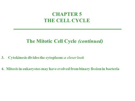 CHAPTER 5 THE CELL CYCLE The Mitotic Cell Cycle (continued) 3.Cytokinesis divides the cytoplasm: a closer look 4. Mitosis in eukaryotes may have evolved.