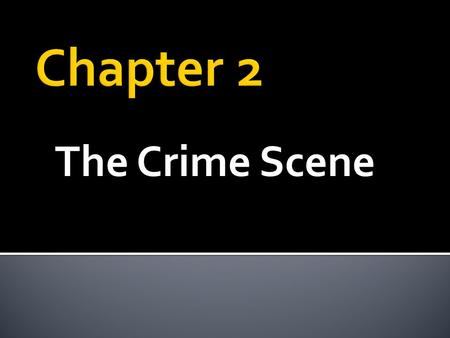 The Crime Scene.  The location & surrounding areas where a crime has been committed.