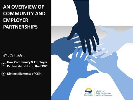 AN OVERVIEW OF COMMUNITY AND EMPLOYER PARTNERSHIPS Distinct Elements of CEP How Community & Employer Partnerships fit into the EPBC What's inside...